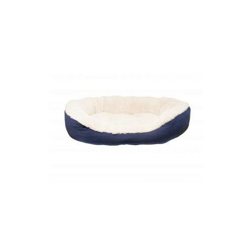 40 Winks Oval Bed Navy Cable Knit - Accessories - Dog & Cat Bedding - Soft