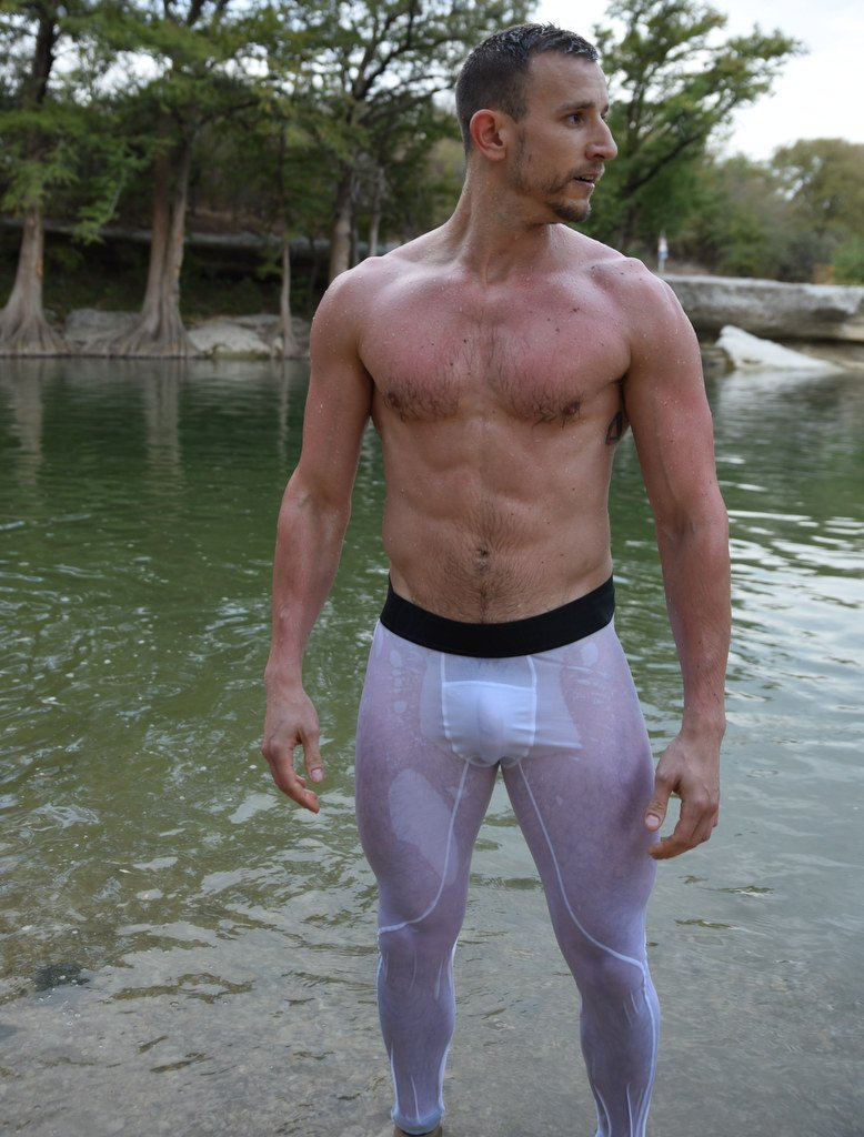 Ridick White Sport Leggings Wet Black Waistband Hairy