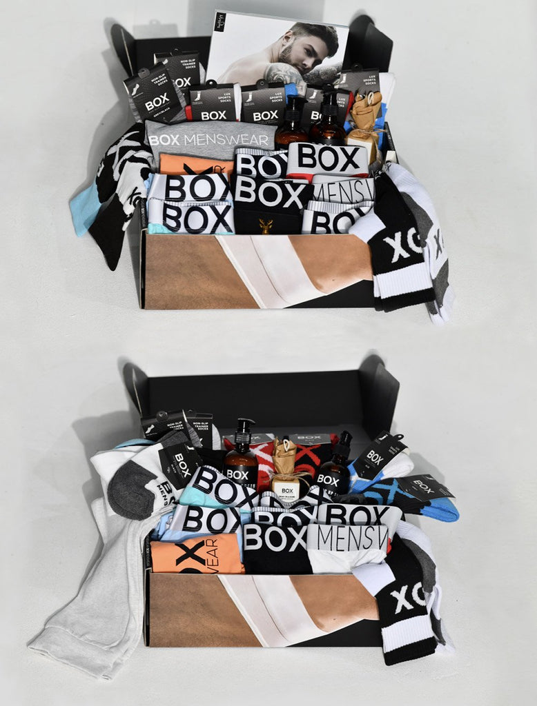 Two Box Gift Boxes Underwear Boxers Briefs Socks Jocks Joggers Men Of Olympus Book Body Wash Body Cream Soap On A Rope