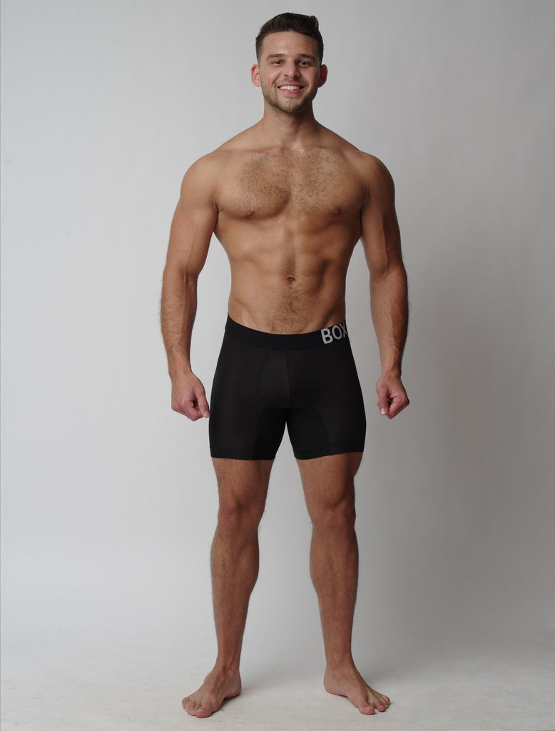 Josh Riquelme Wearing Black King Fit Boxers Long Leg Front View