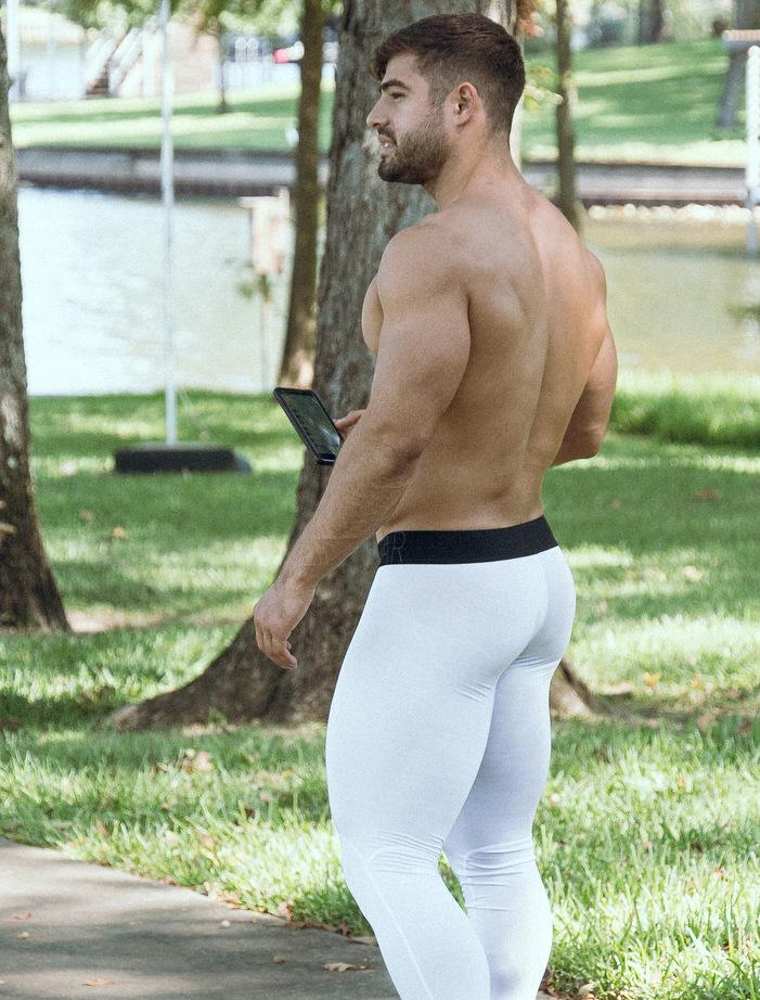 Dan Tai White Sport Leggings Black Waistband Rear View