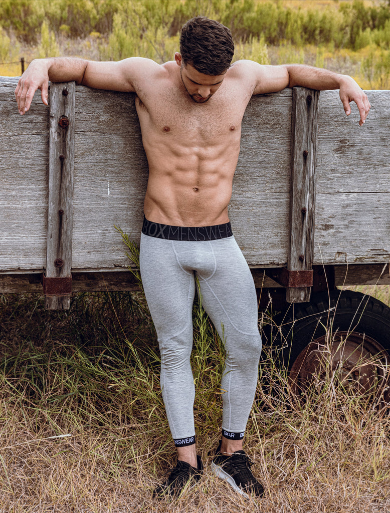 Josh Riquleme Topless Grey Sport Leggings Black Waistband Texas