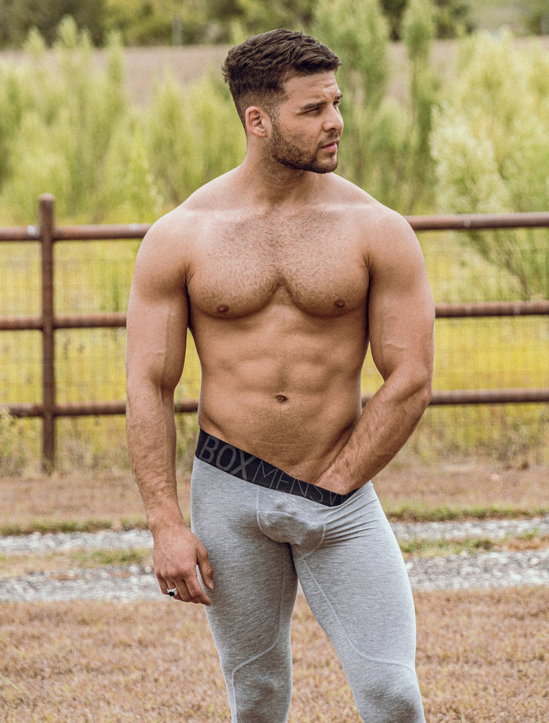 Josh Riquleme Topless Grey Sport Leggings Black Waistband Texas Hand On Crotch