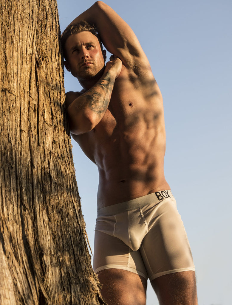 Ross Norton Outside Bulge boxer shorts briefs Transparent Crotch Transparent Mesh Leg Panels