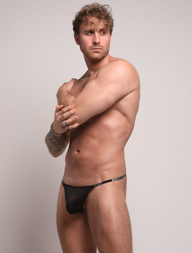 Ross Norton See Through Black Lace Thong Bulge Tilted View