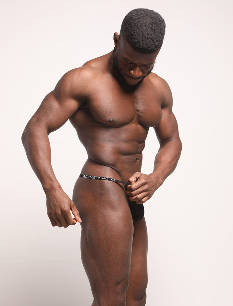 Daniel Shoneye See Through Black Lace Thong Bulge Side View