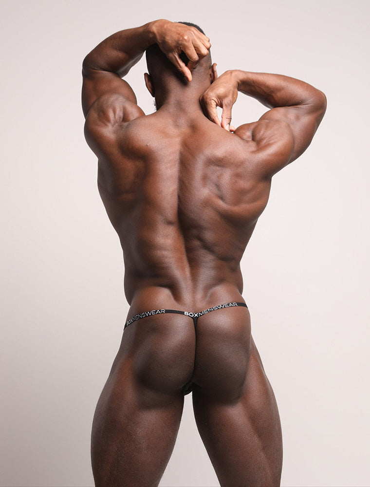 Daniel Shoneye Bum See Through Black Lace Thong Bulge Back View