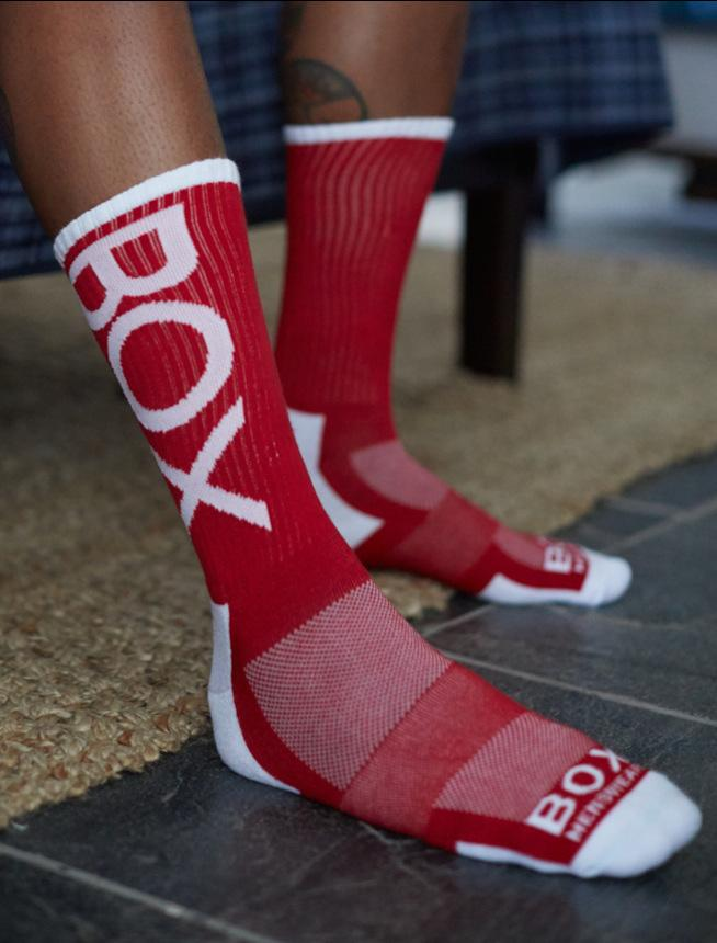 Seth Holbrook Tattoo Legs Red White Lux Sport Socks