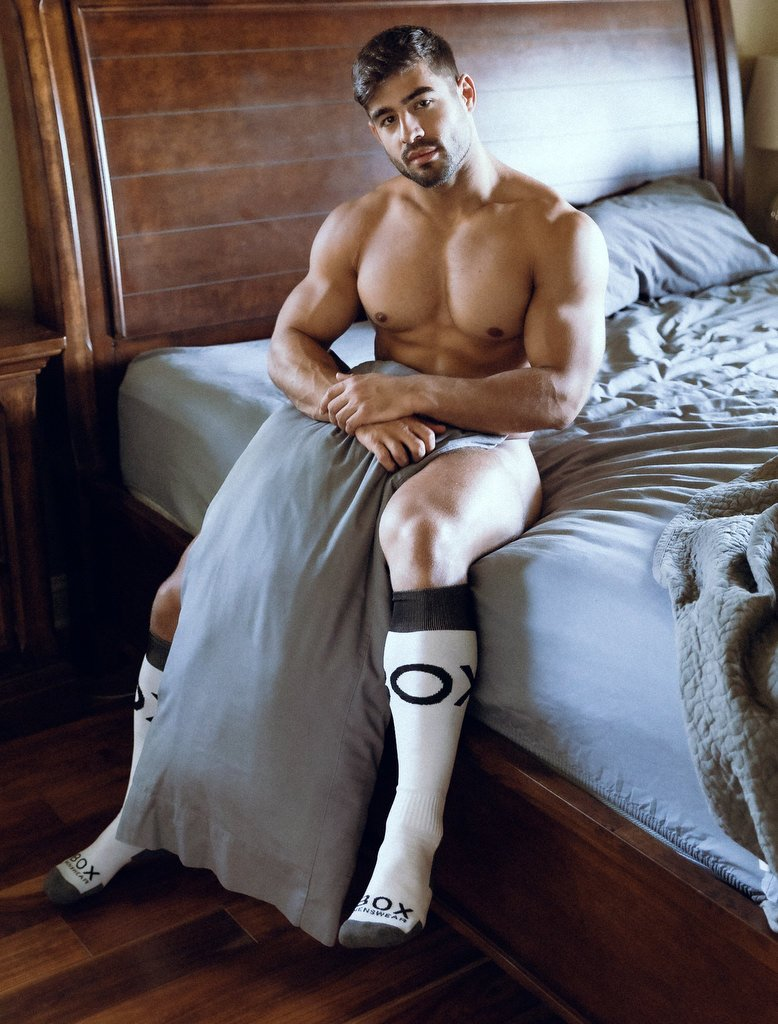 Dan Tai Naked On Bed Long Football Socks White Grey Black