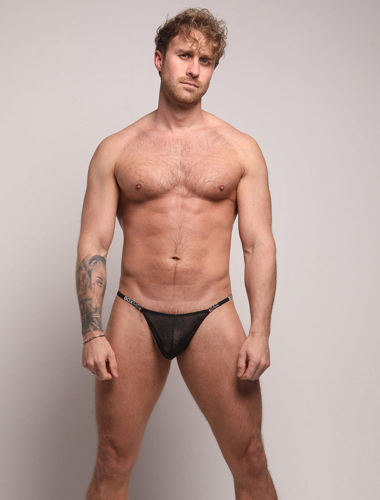 Ross Norton See Through Black Lace Thong Bulge Front View