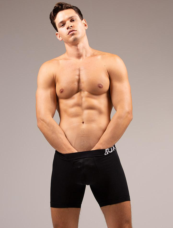Andrea Moscon Hands In Black King Fit Boxers Front View Crotch