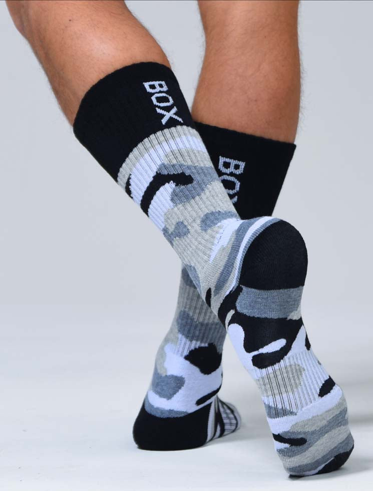 Box Sports Socks - Greyscale Camo