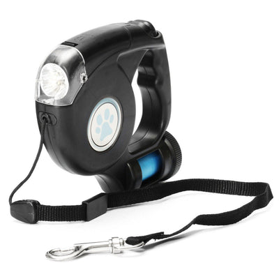 Retractable Dog Leash With Torch and Poop Bags