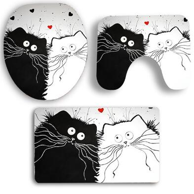 Cute Cat Design 3 PCS Mat Set For Indoor Bathroom - Luv I said Pet