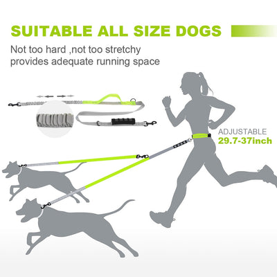 Reflective Runners elastic Double Dog Leash