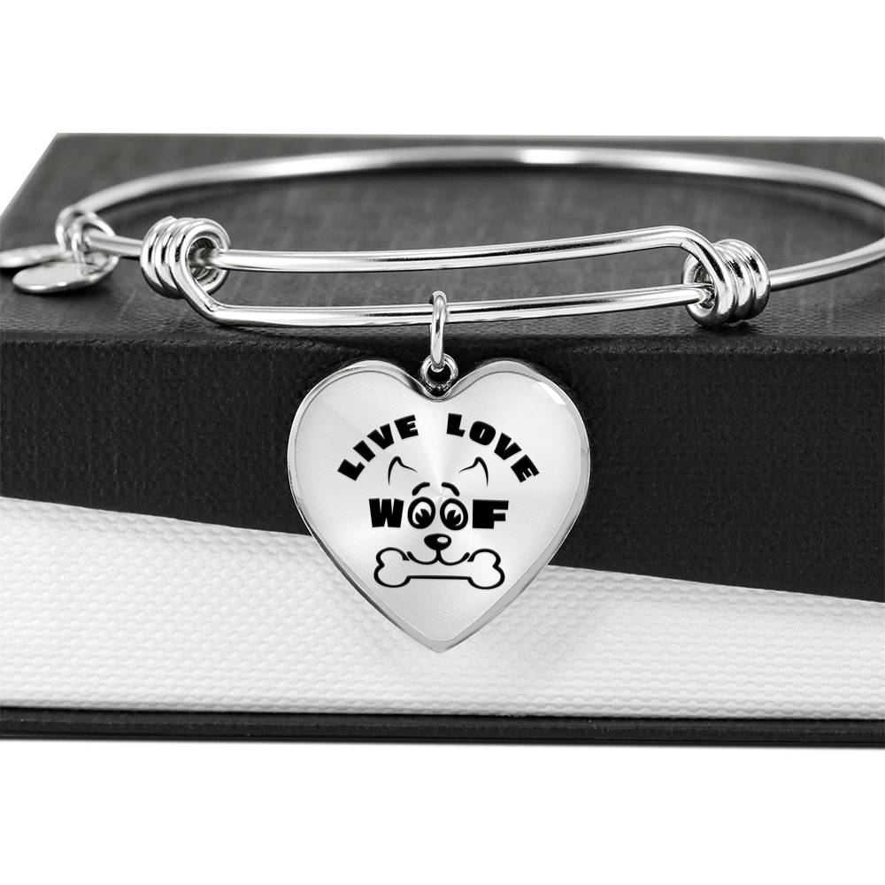 Live Love Woof - Luxury Heart Bangle