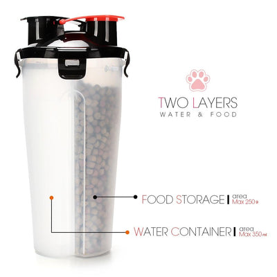 2 in 1 Water & Food Bottle with Collapsable Bowl