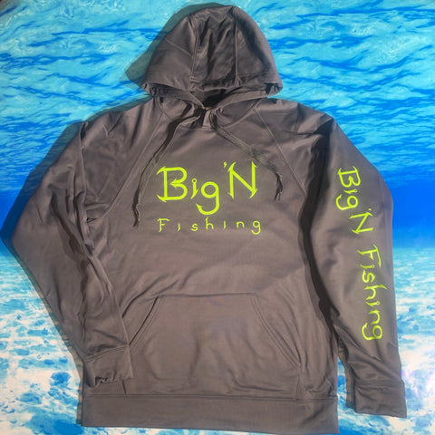 Stealth Grey/Neon green Performance Big'N Fishing Hoodie