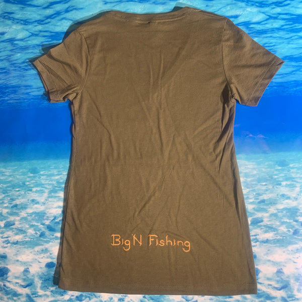 Military Green Ladies V-Neck Short SLEEVE