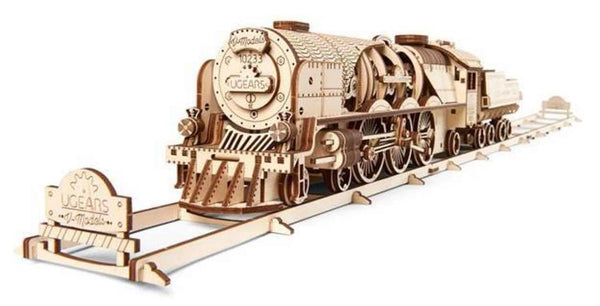 UG70058 V-Express Steam Train with Tender Wooden Mechanical Model