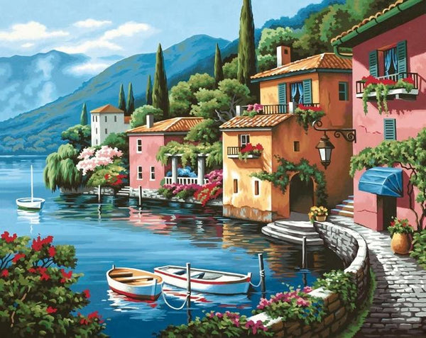 DIM91425 LAKESIDE VILLAGE PAINT BY NUMBER