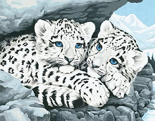 DIM91079 SNOW LEOPARD CUBS PAINT BY NUMBER