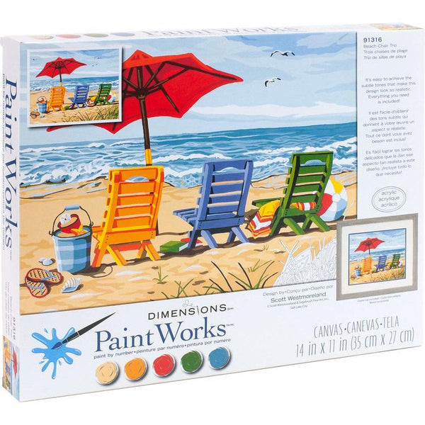 DIM91316 BEACH CHAIR TRIO PAINT BY NUMBER