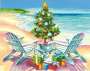 DIM7391616 CHRISTMAS ON THE BEACH PAINT BY NUMBER