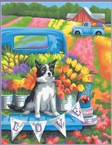 DIM7391775 FLOWER POWER DOG PAINT BY NUMBER