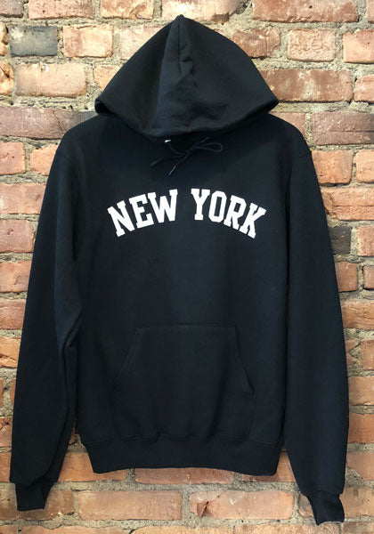 "Black hooded sweatshirt with the words ""NEW YORK"" arched across the chest in white."