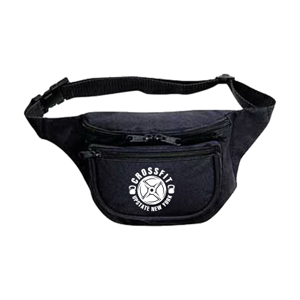 "Keep the essentials close in this tough fanny pack, featuring a custom design with the words ""CROSSFIT UPSTATE NY"" printed on the front.  *Only Found At 518 Prints*"