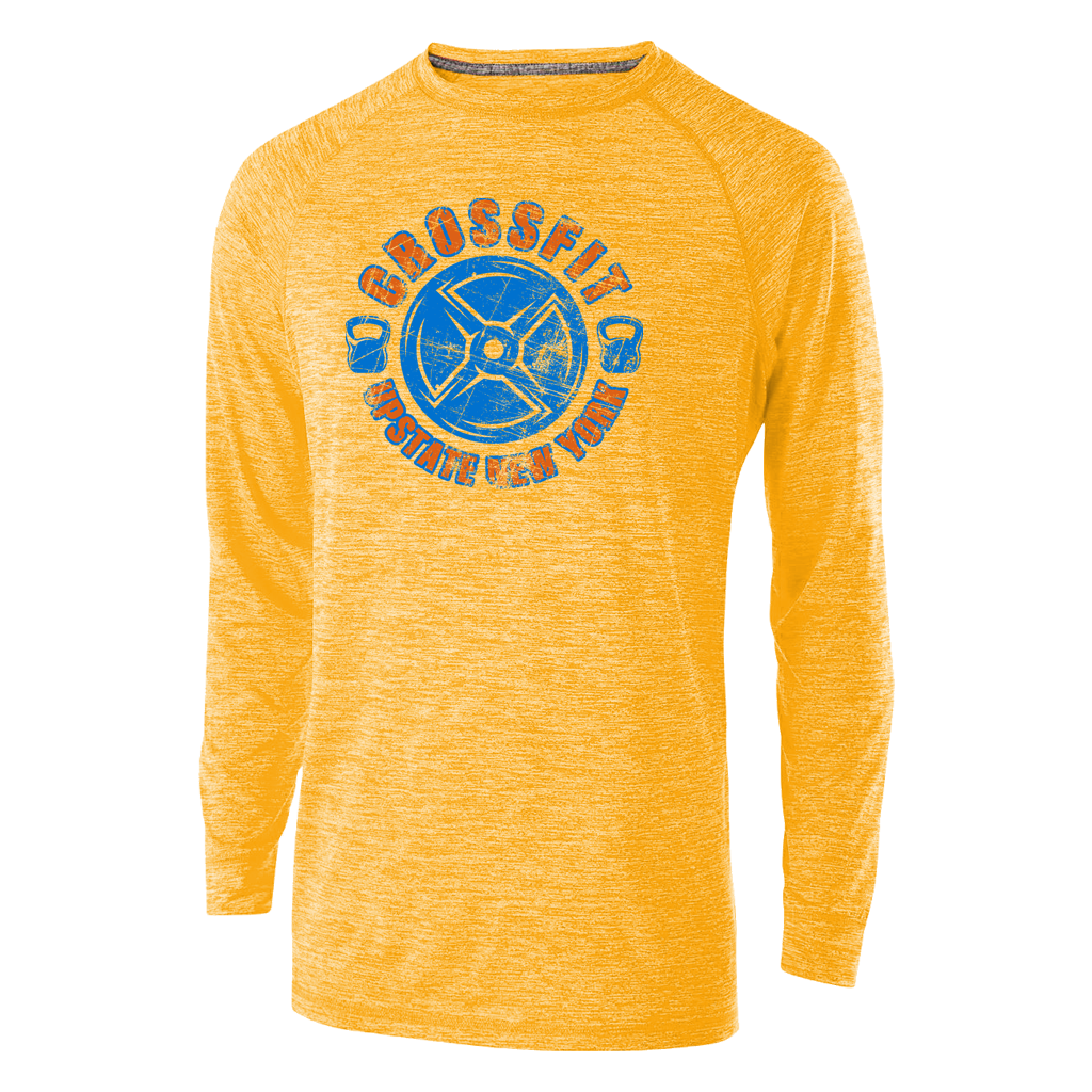 Stand out at your local gym in this sunny yellow heather athletic longsleeve featuring a custom 2-color crossfit design. Breathable and comfortable for even the hardest workouts.