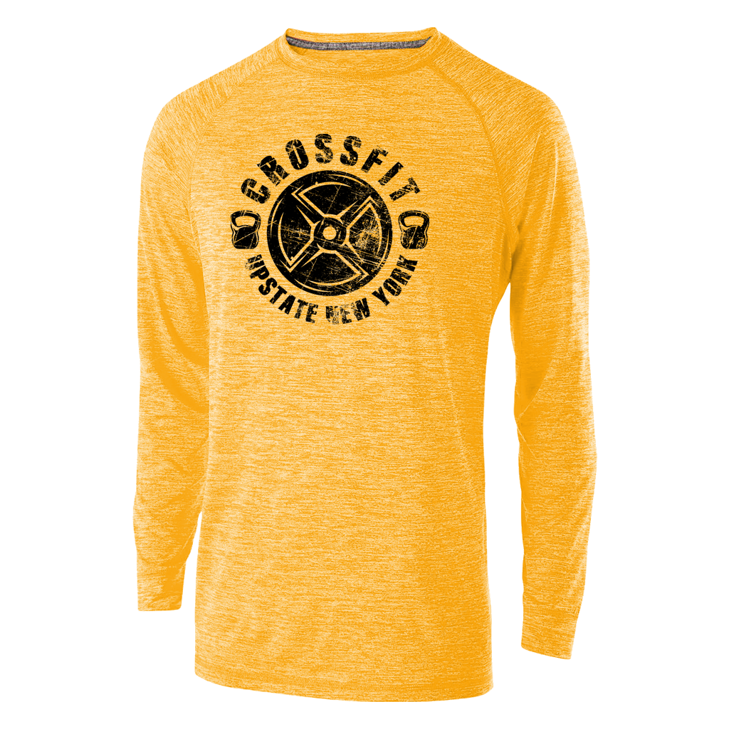 Stand out at your local gym in this sunny yellow heather athletic longsleeve featuring a custom crossfit design printed in black. Breathable and comfortable for even the hardest workouts.  *Found Only At 518 Prints*