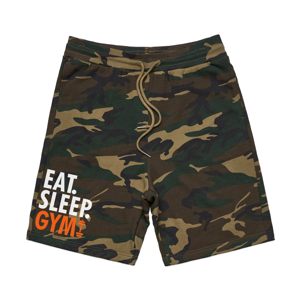 Eat, sleep, gym, repeat. Let your shorts do the talking! Printed on comfortable camo-patterned shorts, you're sure to make a statement wherever you go.  *Found Only At 518 Prints*