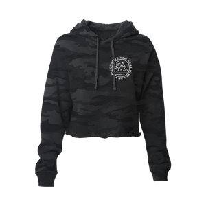 "Find a new path in our original design ""Find A New Path"" cropped hoodie. Printed in white ink on the front and back of a black camouflage-patterned cropped hooded sweatshirt.  Only Found at 518 Prints"