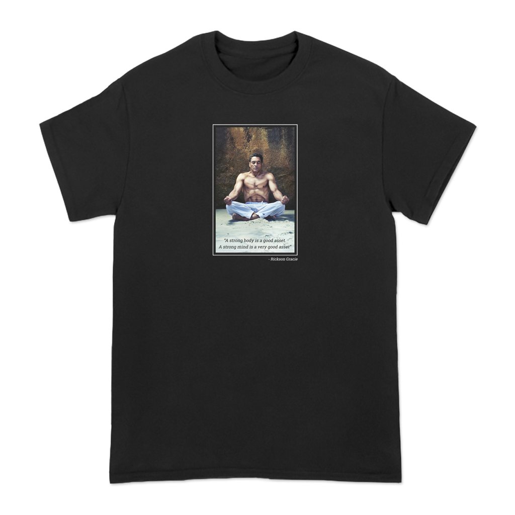 "Feel your best in this tee featuring a photo of Rickson Gracie, 9th degree red belt in Brazilian Jiu-Jitsu, as well as his quote ""A strong body is a good asset, a strong mind is a very good asset.""  *Found Only At 518 Prints*"