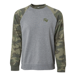 Simple, clean, and stylish. Rock our Troy Simple Script design on an ultra-comfy grey crewneck with camo-patterned sleeves and show everyone your hometown pride.  Only found at 518 Prints