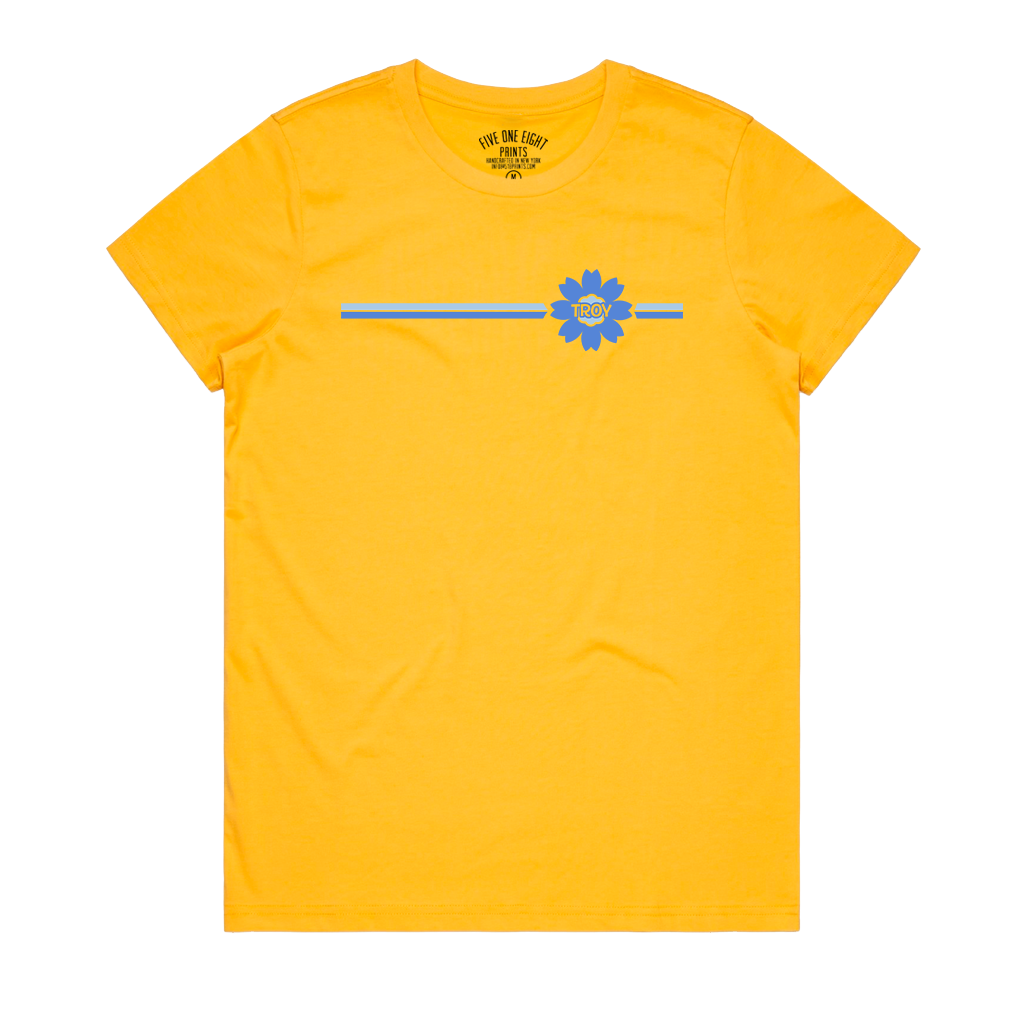 "Sunny and bright, this tee is guaranteed to make you smile. Featuring a minimal, retro-inspired flower featuring the word ""Troy"" on a cheerful yellow women's/ladies tee.  Only found at 518 Prints"
