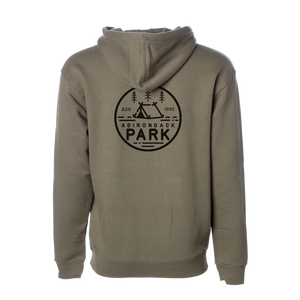 "Show your love for America's first state preserve in our ultra-soft ADK 1892 hoodie in Army Green. Printed on the front and back with our own design, featuring a tent, trees, and the words ""Adirondack Park.""  Only Found at 518 Prints"