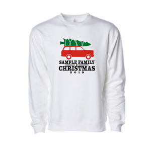 Personalized Christmas Car Crewneck on White