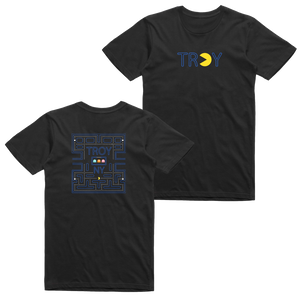 Gamers gonna game. Show your hometown pride in our original Pac-Man-inspired Troy, NY design, printed on the front and back of a black tee.  Only Found at 518 Prints