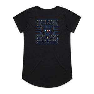 Gamers gonna game. Show your hometown pride in our original Pac-Man-inspired Troy, NY design, printed on the front and back of a black women's/ladies tee.  Only Found at 518 Prints