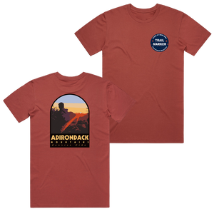 We love the ADKs so much, we took an original photo taken from the Gothics and put it on the back of an ultra-comfy tee. The front design features an illustration of an Adirondack Park trail marker.  Only found at 518 Prints  Tee features: Regular fit, crew neck, mid weight, 5.3 oz/yd2, 28-singles, 100% combed cotton (heathers 15% viscose), neck ribbing, side seamed, shoulder to shoulder tape, double needle hems, and preshrunk to minimize shrinkage.
