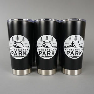 Original Adirondack Park design on a matte black 20 oz tumbler. Keep your beverage hot or cool in style.
