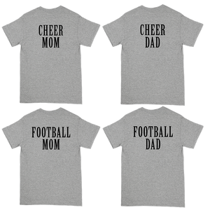 """Raiders Strong"" Tee for Rotterdam Pop Warner. Multiple back designs to choose from - Cheer Mom, Cheer Dad, Football Mom, and Football Dad, featuring the phrase, ""Raiders Strong"" and the Rotterdam Raiders emblem on the front of a unisex Gildan brand heavy cotton tee in sport grey."