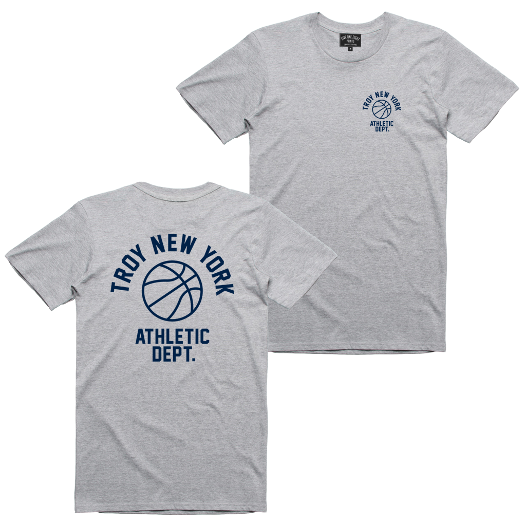"Show some hometown pride in sporty style. Our ""Athletic Dept"" tee features the words ""Troy New York Athletic Dept."" surrounding a basketball on both back and front chest prints. This design is printed on a comfortable yet tough athletic heather tee.  Only Found at 518 Prints"