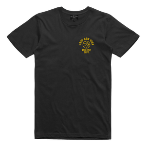 "Show some hometown pride in sporty style. Our ""Athletic Dept"" tee features the words ""Troy New York Athletic Dept."" surrounding a basketball on both back and front chest prints. This design is printed on a comfortable yet tough black tee.  Only Found at 518 Prints"