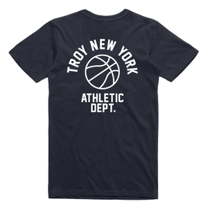 "Show some hometown pride in sporty style. Our ""Athletic Dept"" tee features the words ""Troy New York Athletic Dept."" in white ink surrounding a basketball on both back and front chest prints. This design is printed on a comfortable yet tough navy blue tee.  Only Found at 518 Prints"