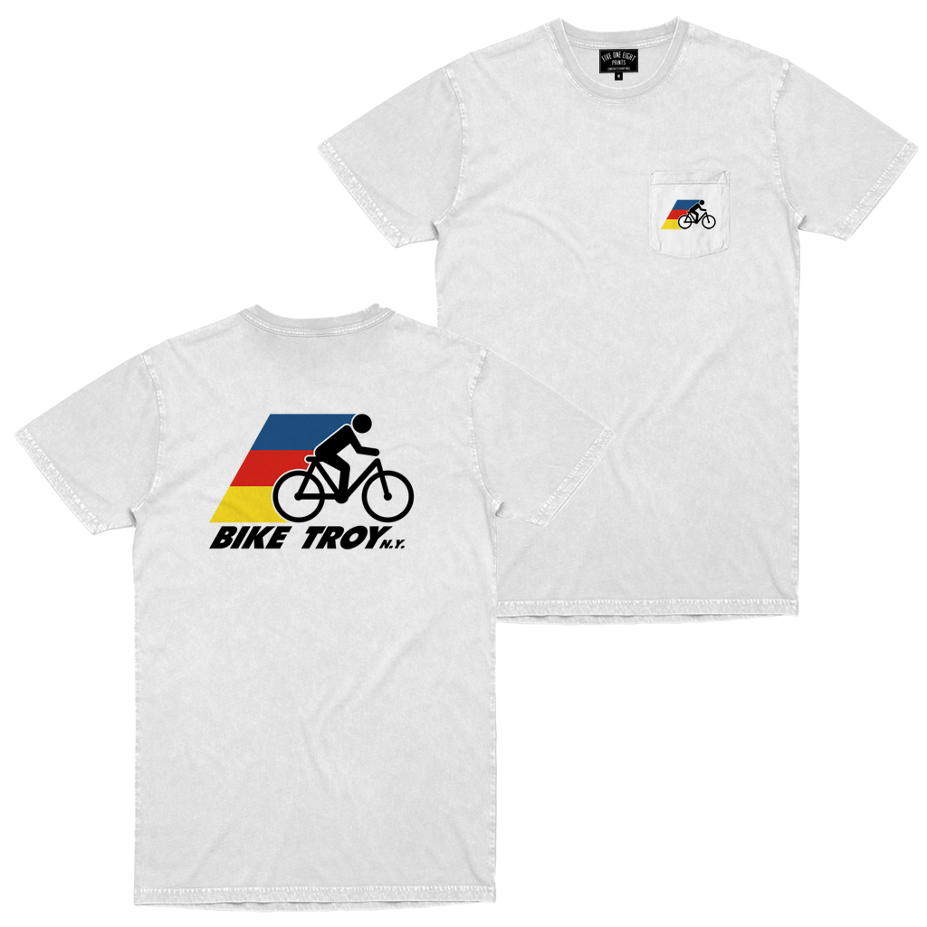 The best way to see your city is from the seat of a bike! Show your appreciation for the greener way to get around in our Bike Troy tee. Printed on front and back of a white pocket tee.  Only Found at 518 Prints