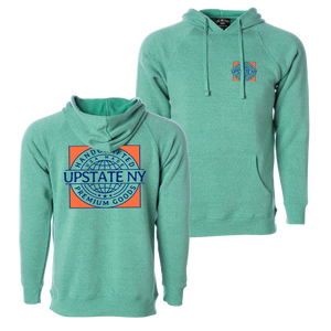 Handcrafted in Upstate New York - this ultra-comfortable hoodie is perfect for any occasion. Custom design is printed on the front and back of this teal hooded sweatshirt.  Only Found at 518 Prints
